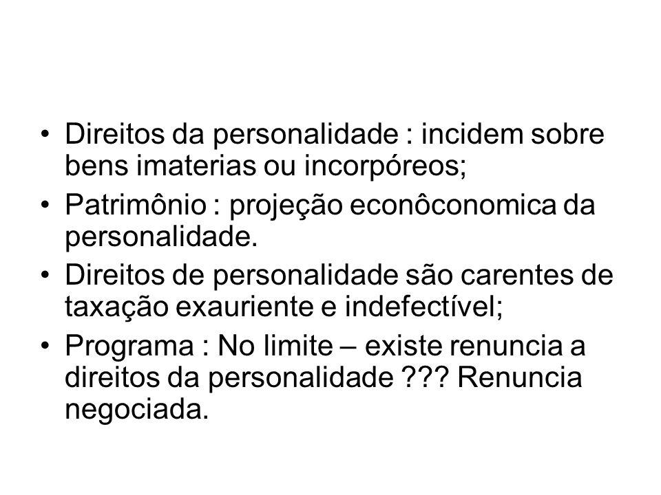 Direitos da personalidade : incidem sobre bens imaterias ou incorpóreos; Patrimônio : projeção econôconomica da personalidade. Direitos de personalida