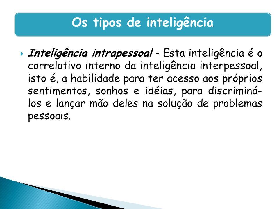 Inteligência intrapessoal - Esta inteligência é o correlativo interno da inteligência interpessoal, isto é, a habilidade para ter acesso aos próprios