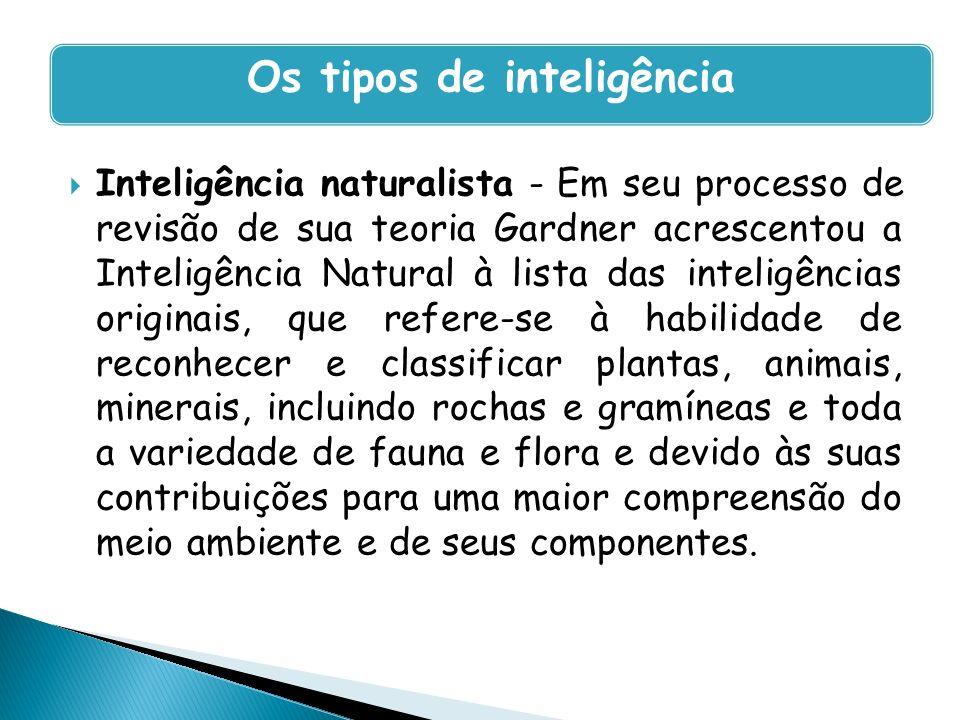 Inteligência naturalista - Em seu processo de revisão de sua teoria Gardner acrescentou a Inteligência Natural à lista das inteligências originais, qu