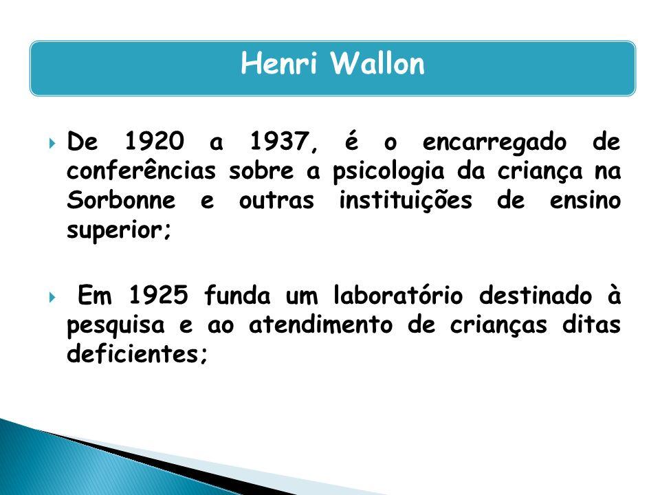 De 1920 a 1937, é o encarregado de conferências sobre a psicologia da criança na Sorbonne e outras instituições de ensino superior; Em 1925 funda um l