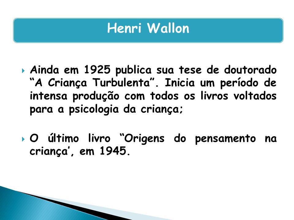 Ainda em 1925 publica sua tese de doutorado A Criança Turbulenta. Inicia um período de intensa produção com todos os livros voltados para a psicologia