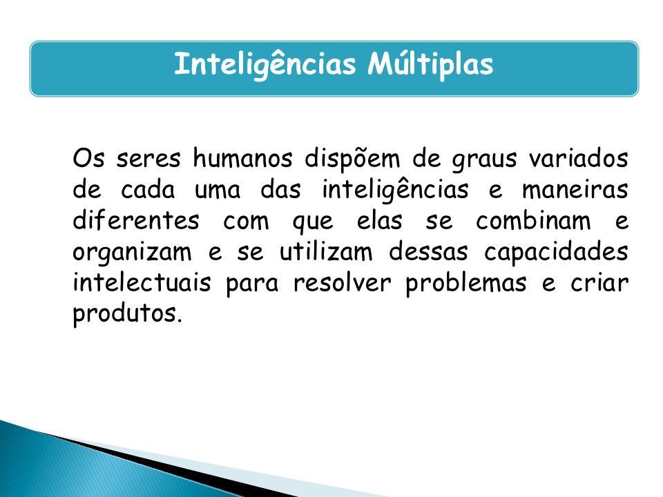 Os seres humanos dispõem de graus variados de cada uma das inteligências e maneiras diferentes com que elas se combinam e organizam e se utilizam dess