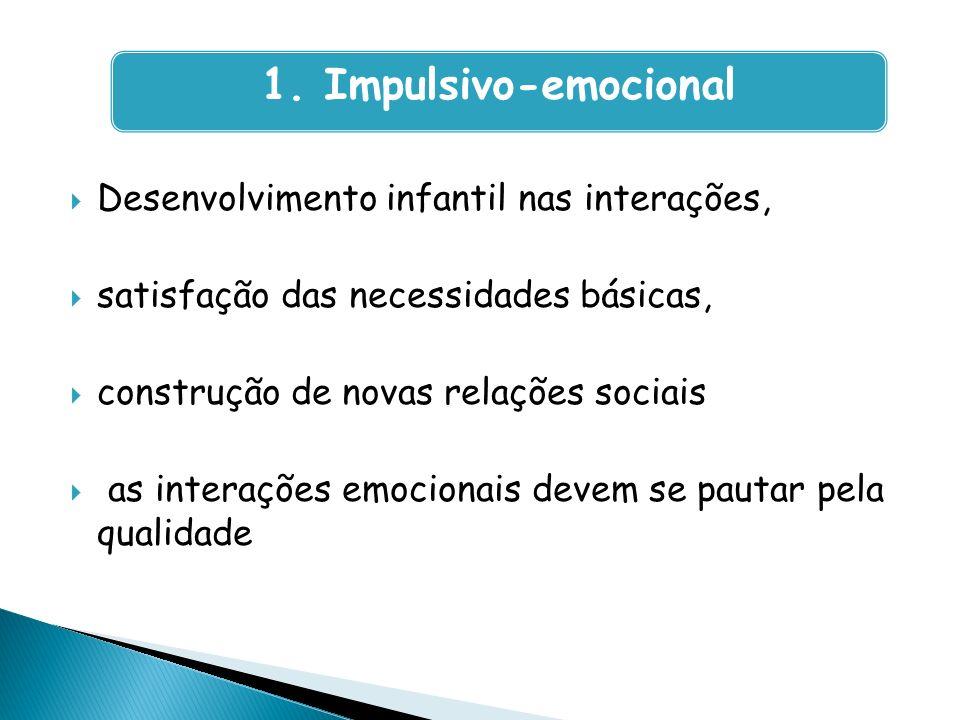 Desenvolvimento infantil nas interações, satisfação das necessidades básicas, construção de novas relações sociais as interações emocionais devem se p