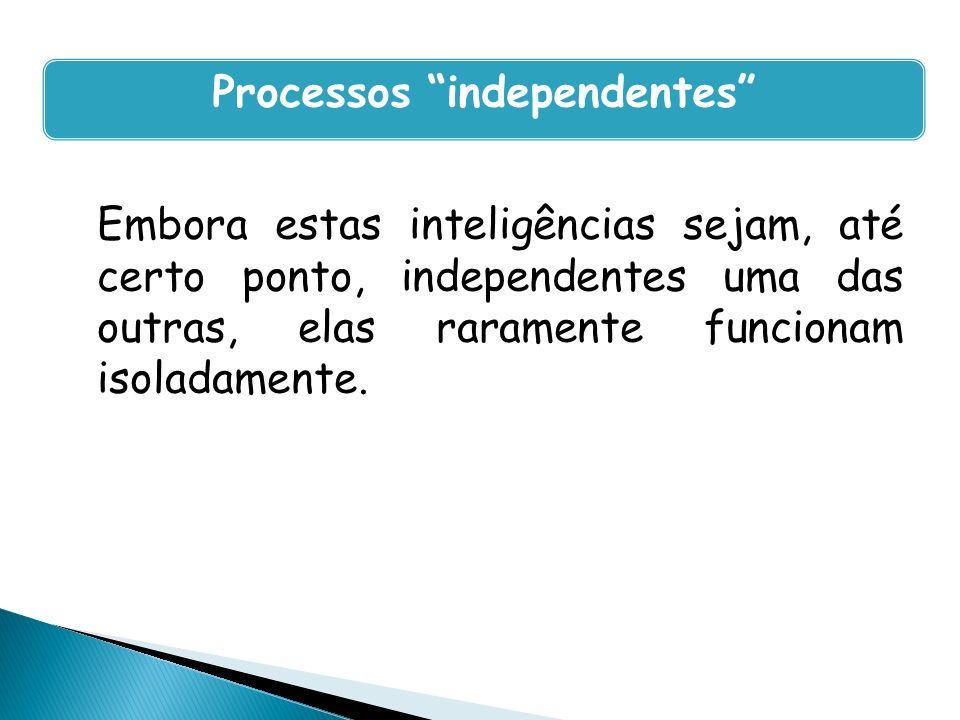 Embora estas inteligências sejam, até certo ponto, independentes uma das outras, elas raramente funcionam isoladamente. Processos independentes