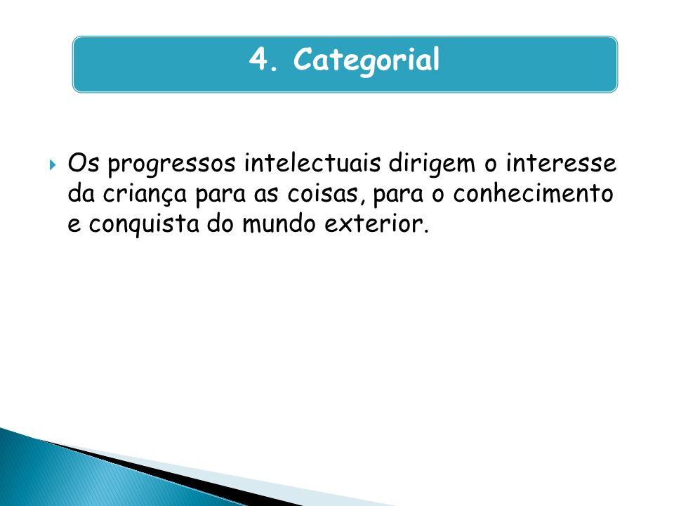 Os progressos intelectuais dirigem o interesse da criança para as coisas, para o conhecimento e conquista do mundo exterior. 4. Categorial