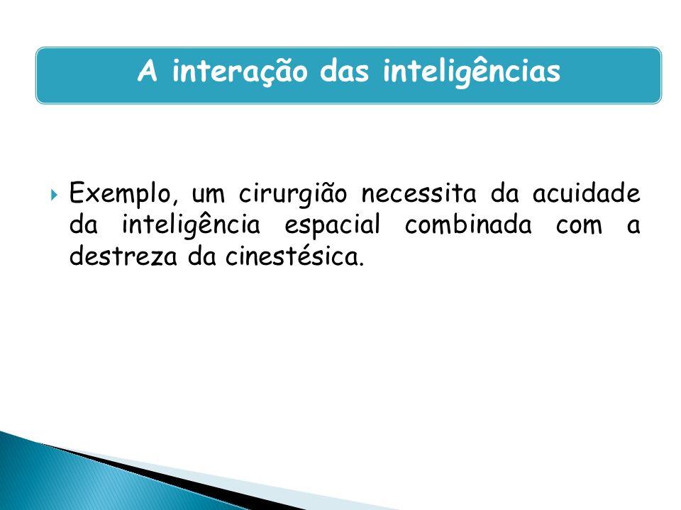 Exemplo, um cirurgião necessita da acuidade da inteligência espacial combinada com a destreza da cinestésica. A interação das inteligências