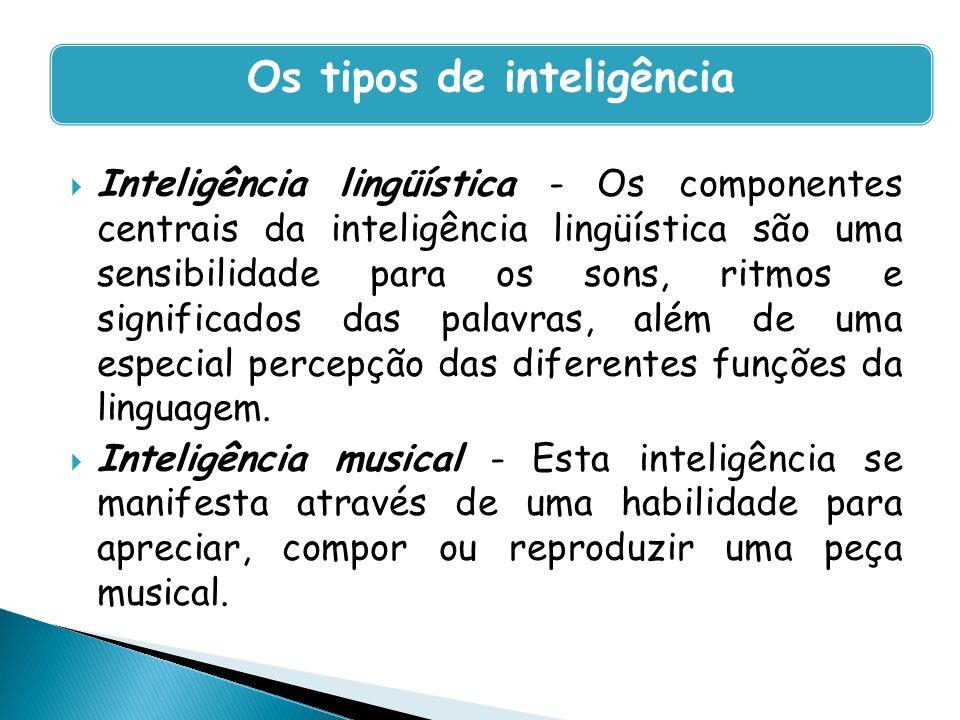 Inteligência lingüística - Os componentes centrais da inteligência lingüística são uma sensibilidade para os sons, ritmos e significados das palavras,