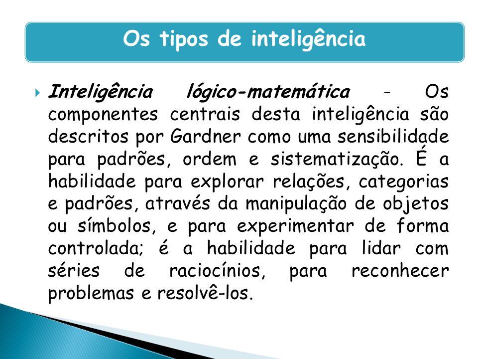 Inteligência lógico-matemática - Os componentes centrais desta inteligência são descritos por Gardner como uma sensibilidade para padrões, ordem e sis