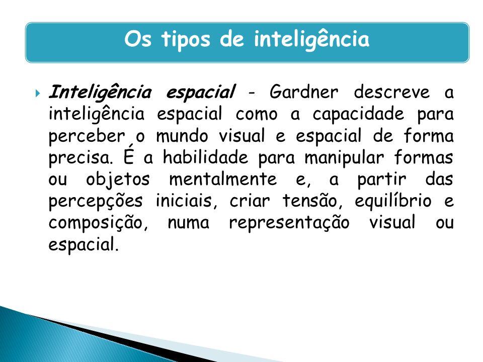 Inteligência espacial - Gardner descreve a inteligência espacial como a capacidade para perceber o mundo visual e espacial de forma precisa. É a habil
