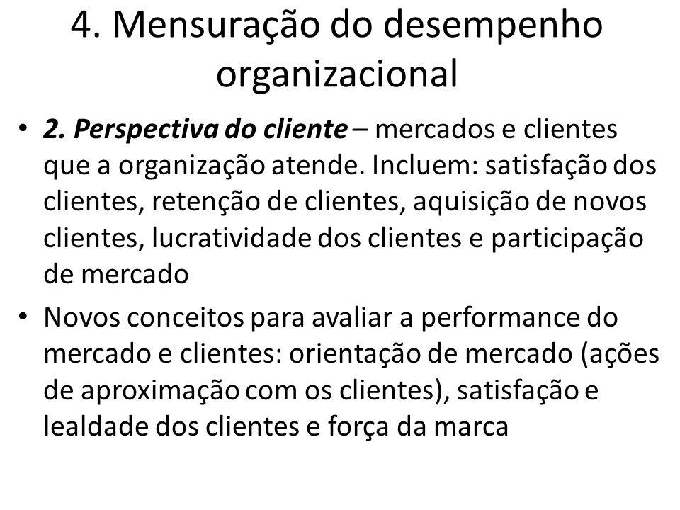 4. Mensuração do desempenho organizacional 2. Perspectiva do cliente – mercados e clientes que a organização atende. Incluem: satisfação dos clientes,