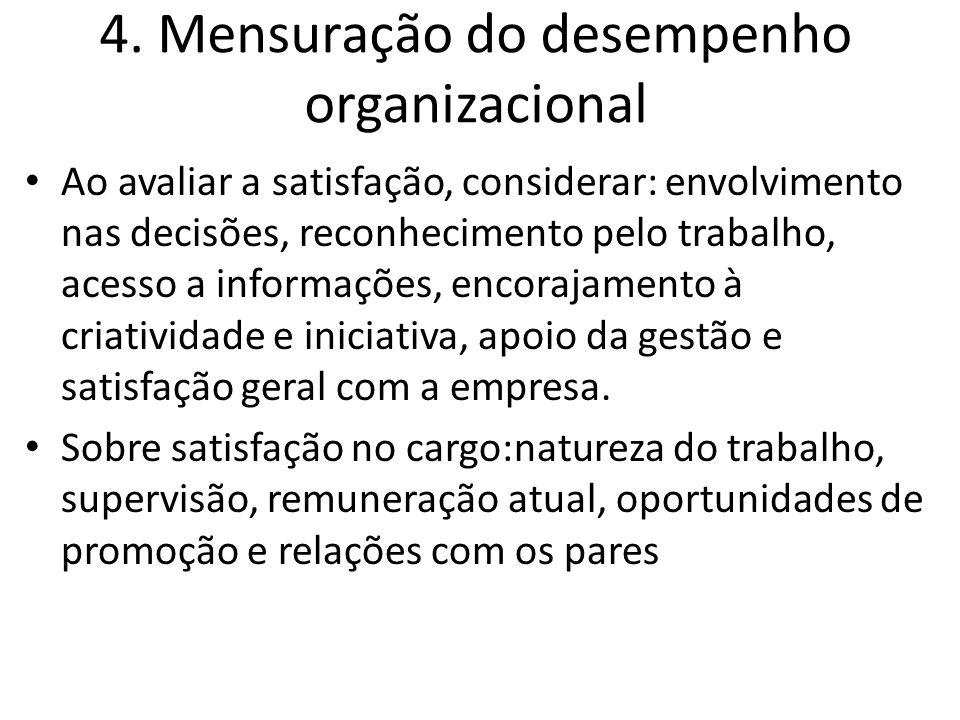 4. Mensuração do desempenho organizacional Ao avaliar a satisfação, considerar: envolvimento nas decisões, reconhecimento pelo trabalho, acesso a info