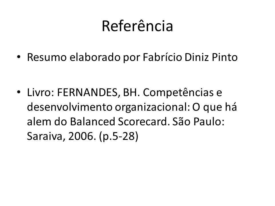 Referência Resumo elaborado por Fabrício Diniz Pinto Livro: FERNANDES, BH. Competências e desenvolvimento organizacional: O que há alem do Balanced Sc