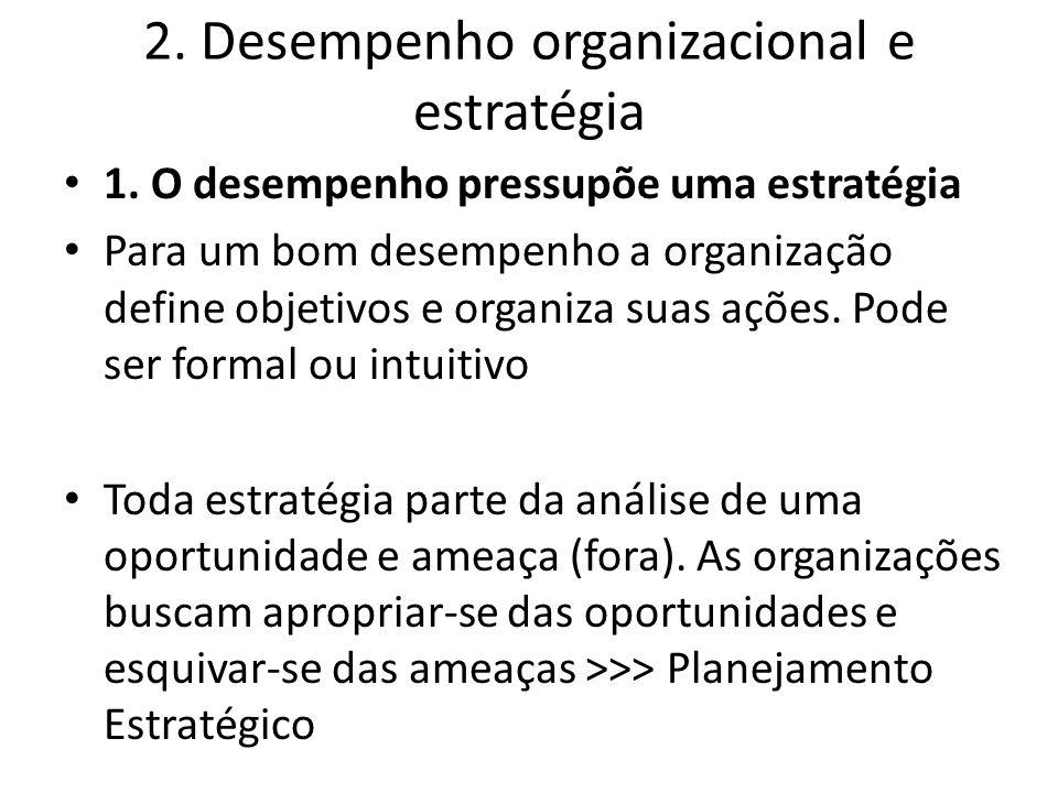 2. Desempenho organizacional e estratégia 1. O desempenho pressupõe uma estratégia Para um bom desempenho a organização define objetivos e organiza su