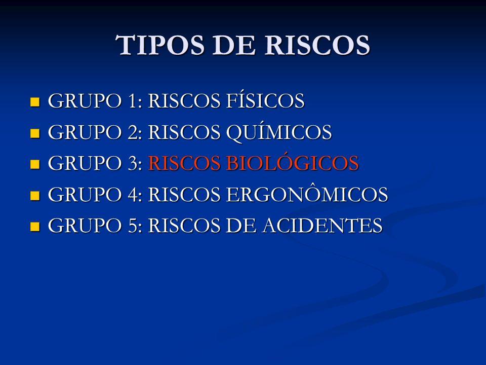TIPOS DE RISCOS GRUPO 1: RISCOS FÍSICOS GRUPO 1: RISCOS FÍSICOS GRUPO 2: RISCOS QUÍMICOS GRUPO 2: RISCOS QUÍMICOS GRUPO 3: RISCOS BIOLÓGICOS GRUPO 3: RISCOS BIOLÓGICOS GRUPO 4: RISCOS ERGONÔMICOS GRUPO 4: RISCOS ERGONÔMICOS GRUPO 5: RISCOS DE ACIDENTES GRUPO 5: RISCOS DE ACIDENTES
