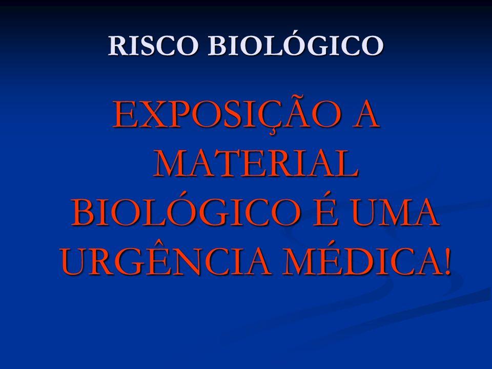 RISCO BIOLÓGICO EXPOSIÇÃO A MATERIAL BIOLÓGICO É UMA URGÊNCIA MÉDICA!