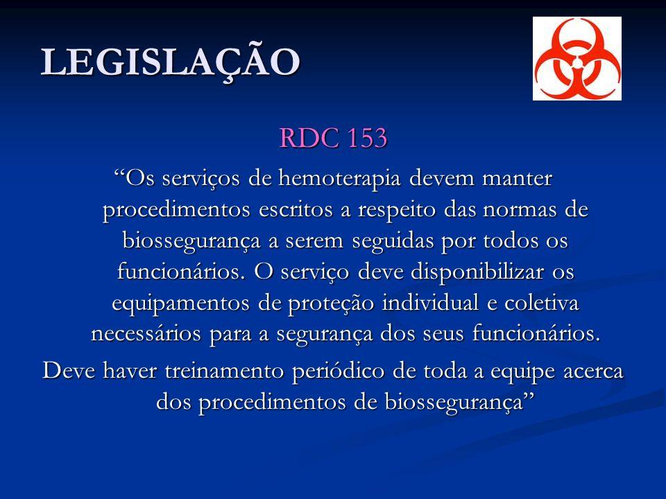 LEGISLAÇÃO RDC 153 Os serviços de hemoterapia devem manter procedimentos escritos a respeito das normas de biossegurança a serem seguidas por todos os funcionários.