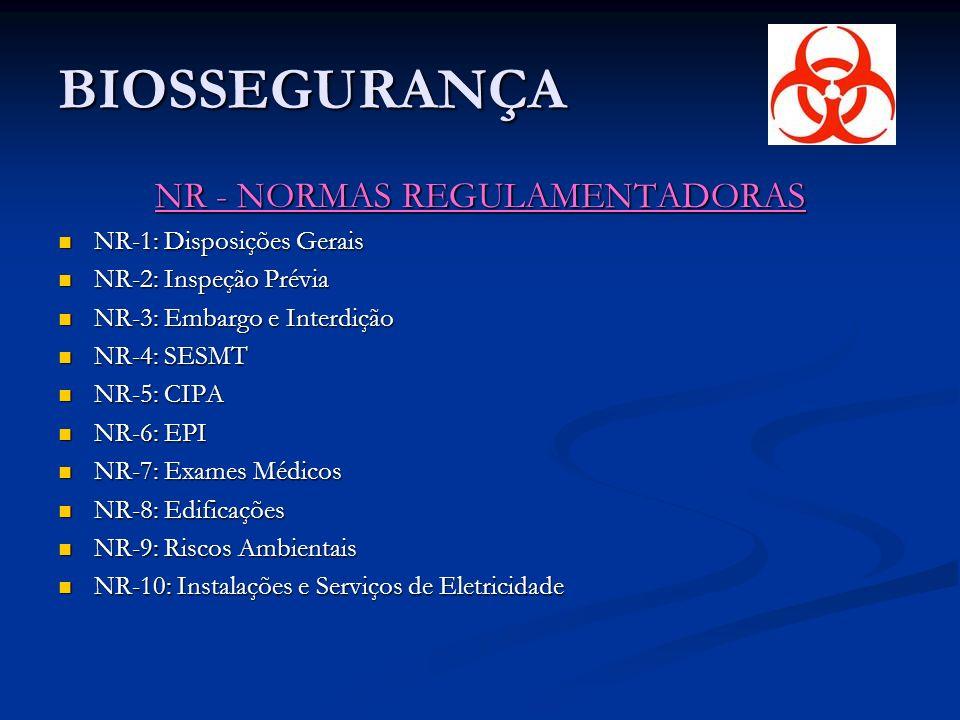 BIOSSEGURANÇA NR - NORMAS REGULAMENTADORAS NR-1: Disposições Gerais NR-1: Disposições Gerais NR-2: Inspeção Prévia NR-2: Inspeção Prévia NR-3: Embargo e Interdição NR-3: Embargo e Interdição NR-4: SESMT NR-4: SESMT NR-5: CIPA NR-5: CIPA NR-6: EPI NR-6: EPI NR-7: Exames Médicos NR-7: Exames Médicos NR-8: Edificações NR-8: Edificações NR-9: Riscos Ambientais NR-9: Riscos Ambientais NR-10: Instalações e Serviços de Eletricidade NR-10: Instalações e Serviços de Eletricidade