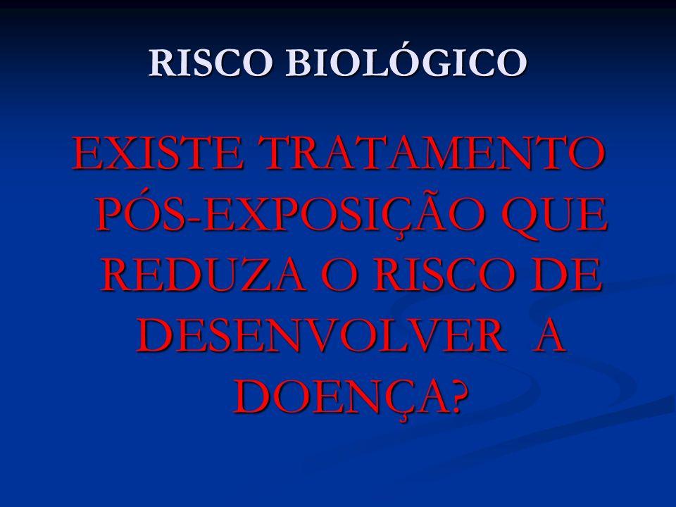 RISCO BIOLÓGICO EXISTE TRATAMENTO PÓS-EXPOSIÇÃO QUE REDUZA O RISCO DE DESENVOLVER A DOENÇA?