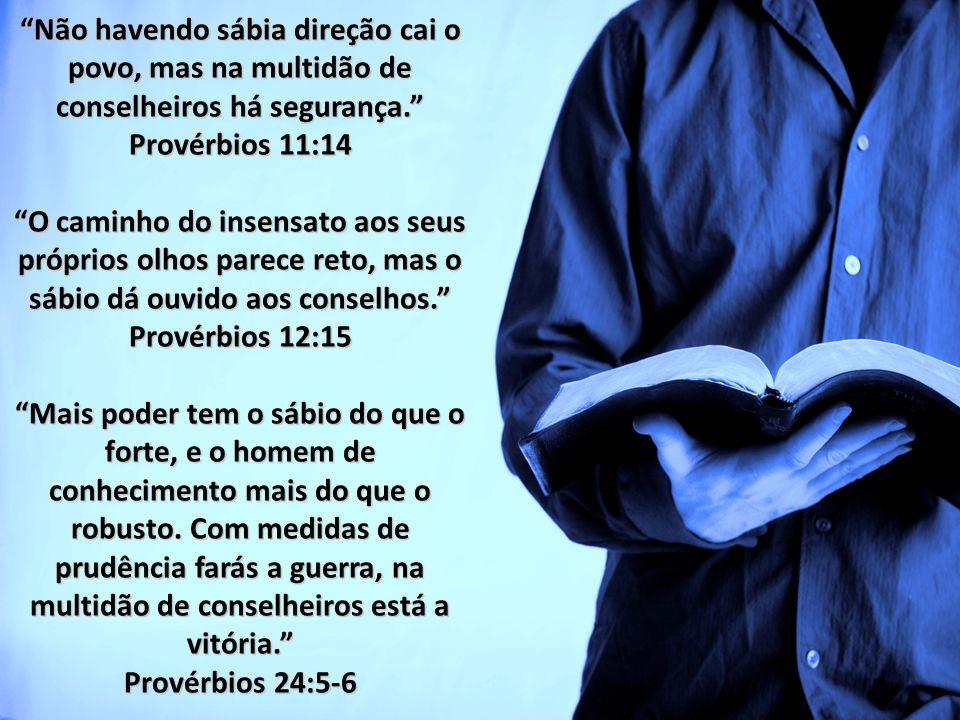 Não havendo sábia direção cai o povo, mas na multidão de conselheiros há segurança. Provérbios 11:14 O caminho do insensato aos seus próprios olhos pa