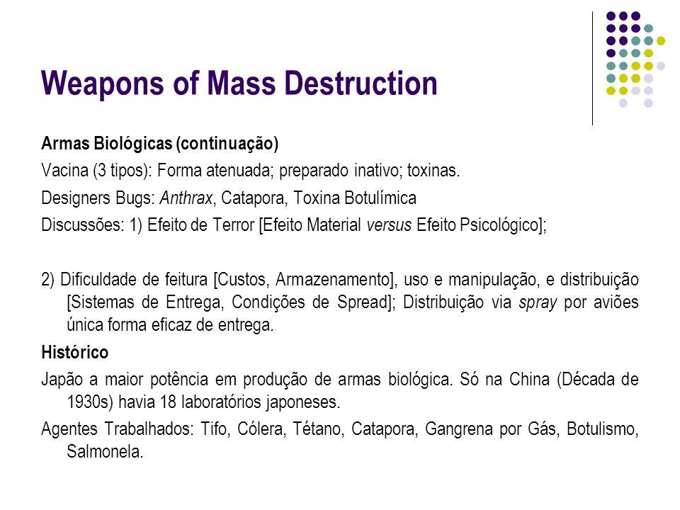 Weapons of Mass Destruction Armas Biológicas (continuação) Vacina (3 tipos): Forma atenuada; preparado inativo; toxinas. Designers Bugs: Anthrax, Cata