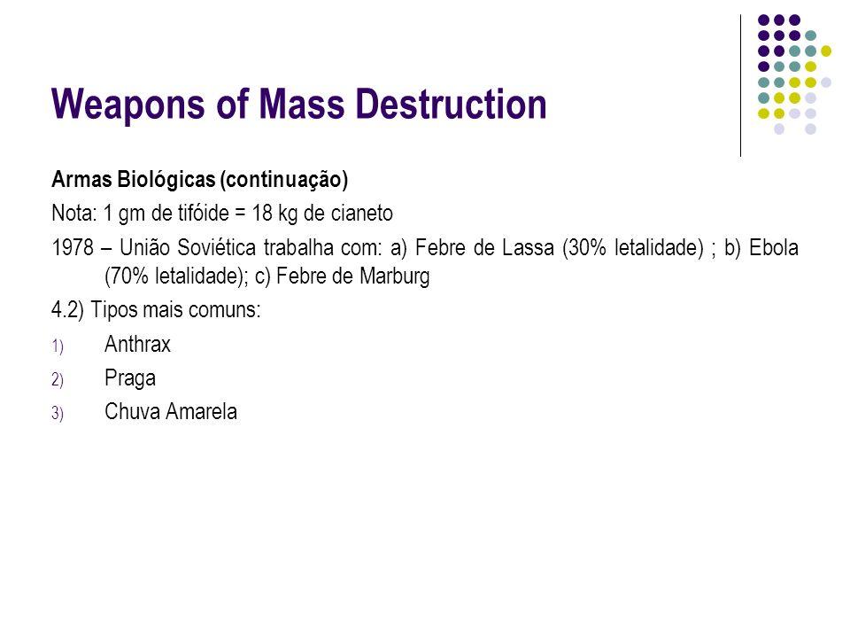 Weapons of Mass Destruction Armas Biológicas (continuação) Nota: 1 gm de tifóide = 18 kg de cianeto 1978 – União Soviética trabalha com: a) Febre de L