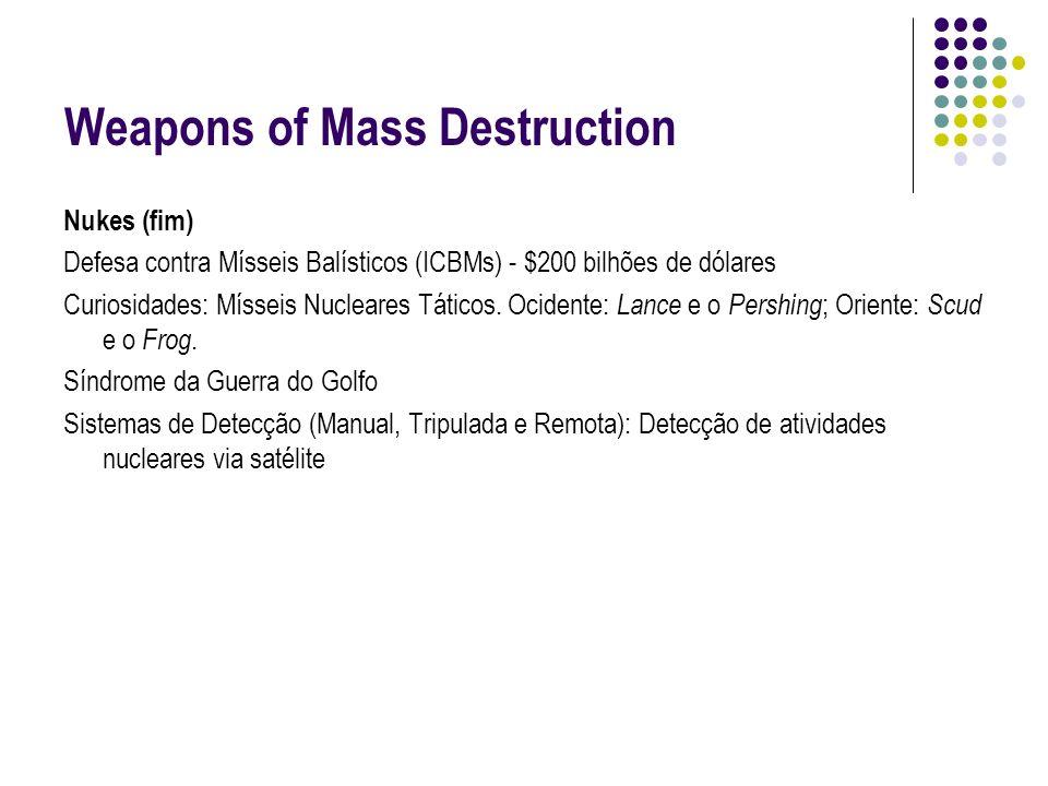 Weapons of Mass Destruction Nukes (fim) Defesa contra Mísseis Balísticos (ICBMs) - $200 bilhões de dólares Curiosidades: Mísseis Nucleares Táticos. Oc