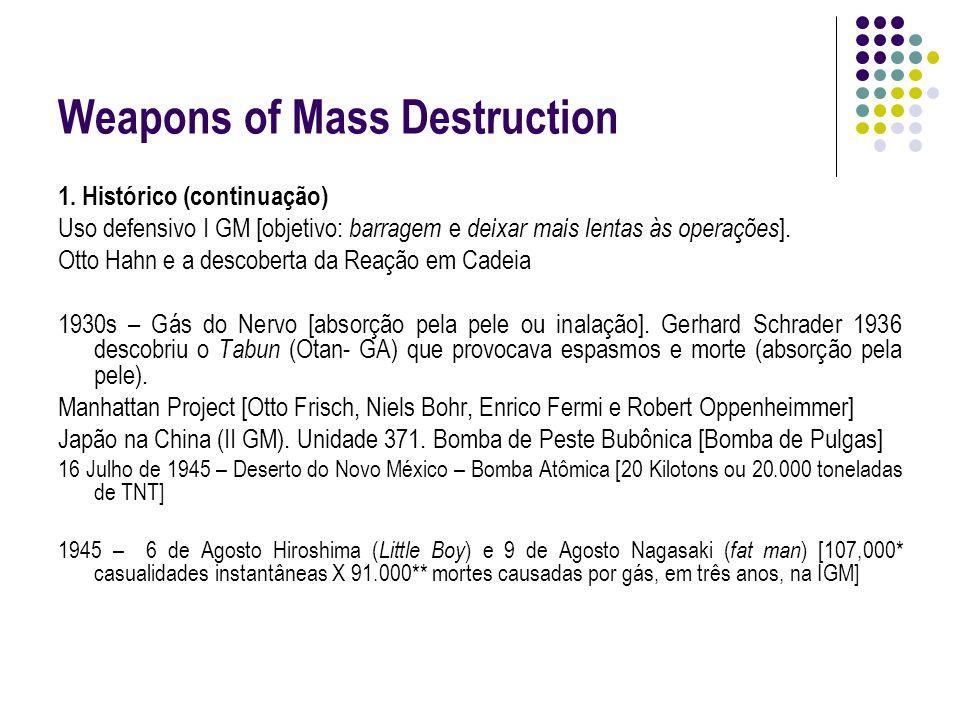 Weapons of Mass Destruction 1. Histórico (continuação) Uso defensivo I GM [objetivo: barragem e deixar mais lentas às operações ]. Otto Hahn e a desco
