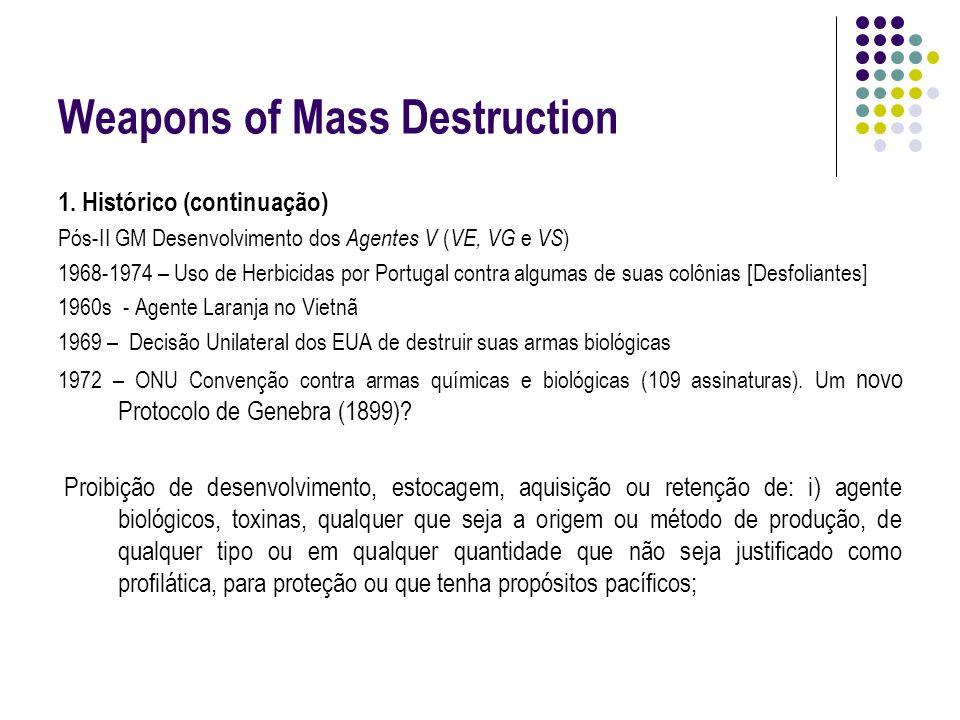 Weapons of Mass Destruction 1. Histórico (continuação) Pós-II GM Desenvolvimento dos Agentes V ( VE, VG e VS ) 1968-1974 – Uso de Herbicidas por Portu