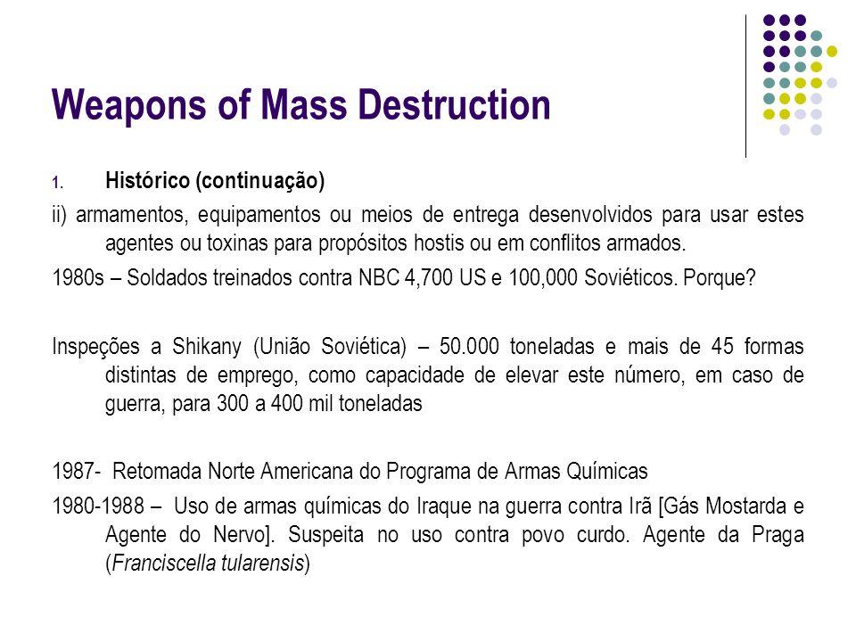 Weapons of Mass Destruction 1. Histórico (continuação) ii) armamentos, equipamentos ou meios de entrega desenvolvidos para usar estes agentes ou toxin