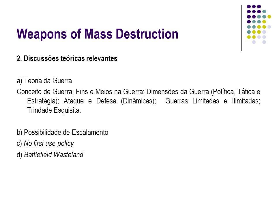 Weapons of Mass Destruction 2. Discussões teóricas relevantes a) Teoria da Guerra Conceito de Guerra; Fins e Meios na Guerra; Dimensões da Guerra (Pol