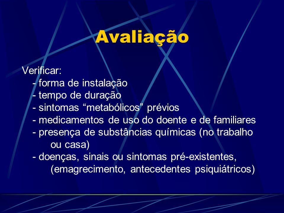 Avaliação Verificar: - forma de instalação - tempo de duração - sintomas metabólicos prévios - medicamentos de uso do doente e de familiares - presenç