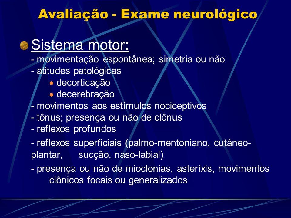 Avaliação - Exame neurológico Sistema motor: - movimentação espontânea; simetria ou não - atitudes patológicas decorticação decerebração - movimentos