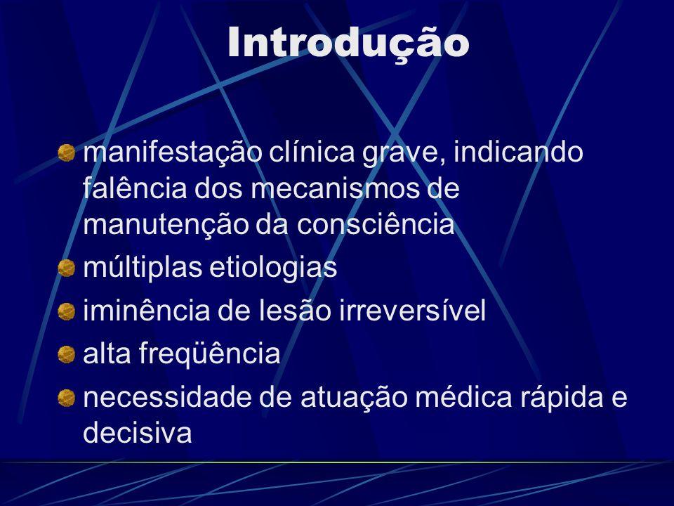 Introdução manifestação clínica grave, indicando falência dos mecanismos de manutenção da consciência múltiplas etiologias iminência de lesão irrevers