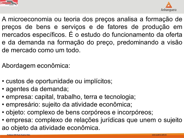 A microeconomia ou teoria dos preços analisa a formação de preços de bens e serviços e de fatores de produção em mercados específicos. É o estudo do f