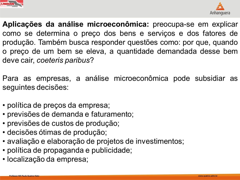 Aplicações da análise microeconômica: preocupa-se em explicar como se determina o preço dos bens e serviços e dos fatores de produção. Também busca re
