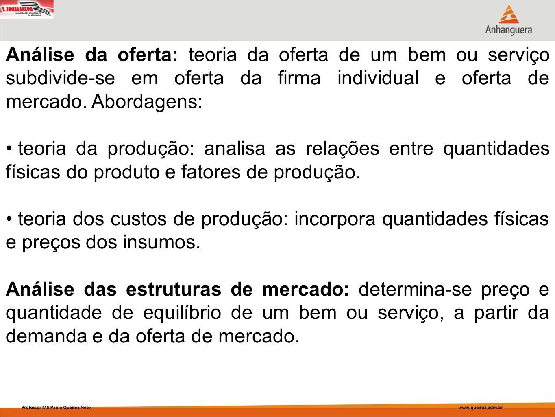 Análise da oferta: teoria da oferta de um bem ou serviço subdivide-se em oferta da firma individual e oferta de mercado. Abordagens: teoria da produçã