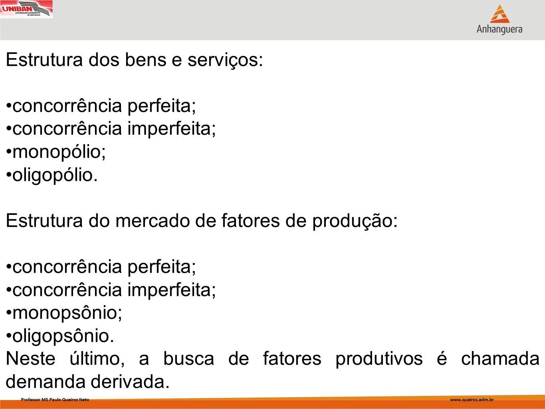Estrutura dos bens e serviços: concorrência perfeita; concorrência imperfeita; monopólio; oligopólio. Estrutura do mercado de fatores de produção: con