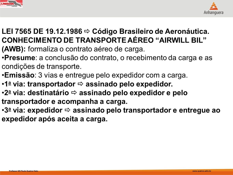 LEI 7565 DE 19.12.1986 Código Brasileiro de Aeronáutica. CONHECIMENTO DE TRANSPORTE AÉREO AIRWILL BIL (AWB): formaliza o contrato aéreo de carga. Pres