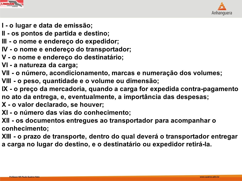 I - o lugar e data de emissão; II - os pontos de partida e destino; III - o nome e endereço do expedidor; IV - o nome e endereço do transportador; V -