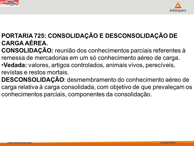 PORTARIA 725: CONSOLIDAÇÃO E DESCONSOLIDAÇÃO DE CARGA AÉREA. CONSOLIDAÇÃO: reunião dos conhecimentos parciais referentes à remessa de mercadorias em u