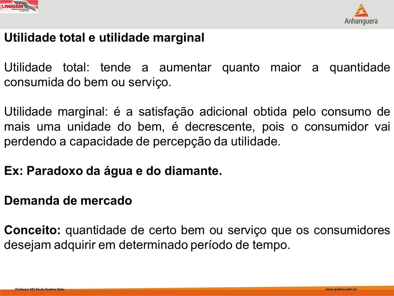 Utilidade total e utilidade marginal Utilidade total: tende a aumentar quanto maior a quantidade consumida do bem ou serviço. Utilidade marginal: é a