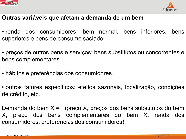Outras variáveis que afetam a demanda de um bem renda dos consumidores: bem normal, bens inferiores, bens superiores e bens de consumo saciado. preços