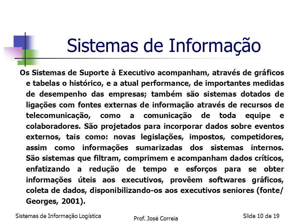 Sistemas de Informação LogísticaSlide 10 de 19 Sistemas de Informação Os Sistemas de Suporte à Executivo acompanham, através de gráficos e tabelas o h