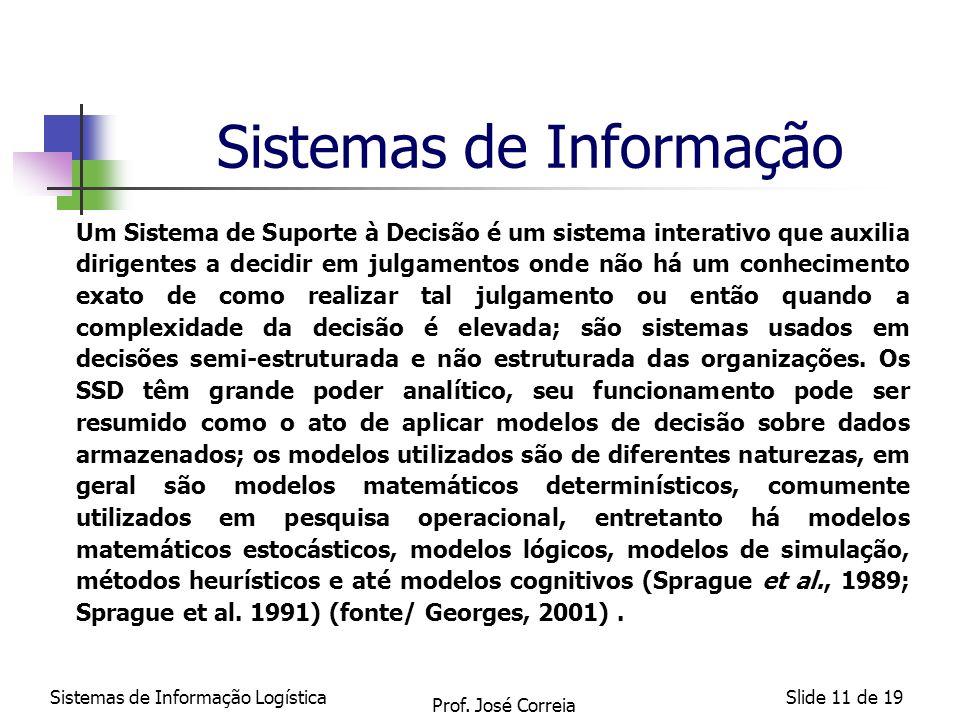 Sistemas de Informação LogísticaSlide 11 de 19 Sistemas de Informação Um Sistema de Suporte à Decisão é um sistema interativo que auxilia dirigentes a