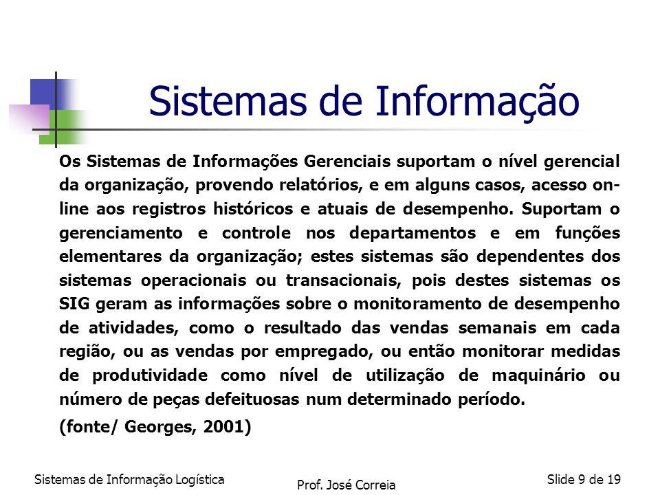 Sistemas de Informação LogísticaSlide 9 de 19 Sistemas de Informação Os Sistemas de Informações Gerenciais suportam o nível gerencial da organização,