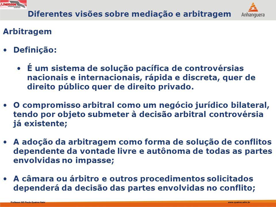 Capa da Obra Arbitragem Definição: É um sistema de solução pacífica de controvérsias nacionais e internacionais, rápida e discreta, quer de direito público quer de direito privado.