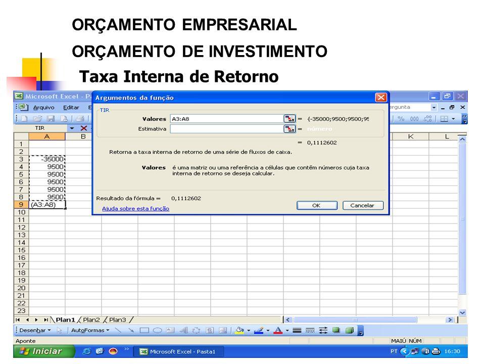 28 ORÇAMENTO EMPRESARIAL ORÇAMENTO DE INVESTIMENTO Taxa Interna de Retorno
