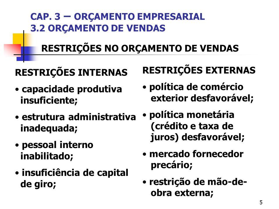 5 CAP. 3 – ORÇAMENTO EMPRESARIAL 3.2 ORÇAMENTO DE VENDAS RESTRIÇÕES INTERNAS capacidade produtiva insuficiente; estrutura administrativa inadequada; p