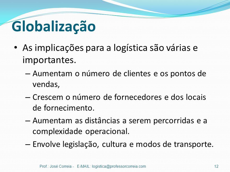 Globalização Prof.: José Correia - E-MAIL: logistica@professorcorreia.com12 As implicações para a logística são várias e importantes. – Aumentam o núm