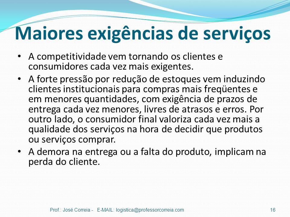 Maiores exigências de serviços Prof.: José Correia - E-MAIL: logistica@professorcorreia.com16 A competitividade vem tornando os clientes e consumidore